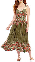 Free People Be My Baby Printed Button Front Maxi Dress
