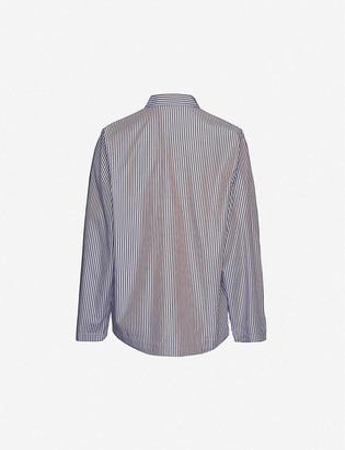 Tekla Striped long-sleeved organic cotton pyjama top