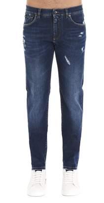 Dolce & Gabbana Distressed Straight-Leg Jeans