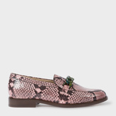 Paul Smith Women's Pink Snake-Effect Calf Leather 'Cora' Loafers