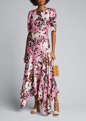 Veronica Beard Connie Floral-Print Dress with Handkerchief Hem