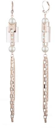 Carolee Chain Resin Imitation Pearl CZ Linear Drop Earrings