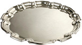 One Kings Lane Vintage Towle Round Scalloped Silver Plate Tray - N.P.Trent Antiques - silver/gold