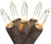 Northlight Mini Christmas Lights with Brown Wire, Clear, Set of 35