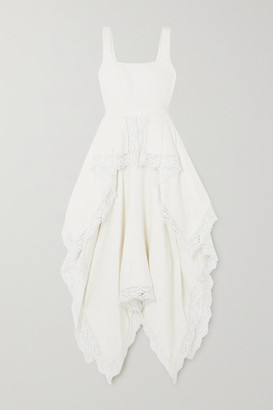 Alexander McQueen Asymmetric Crocheted Lace-trimmed Linen Floral-jacquard Dress - Ivory