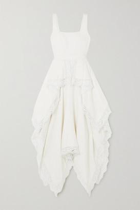 Alexander McQueen Asymmetric Crocheted Lace-trimmed Linen Floral-jacquard Dress - Ivory