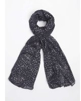 Dorothy Perkins Womens Navy Foil Spotted Scarf- Blue