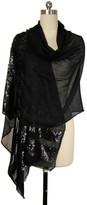 Saachi Black Wool Sequins Striped Border Wrap