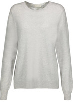 Clu Metallic Silk-Blend And Lace-Paneled Wool And Cashmere-Blend Sweater