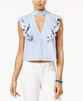 Love, Fire Juniors' Embroidered Mock-Neck Cutout Top