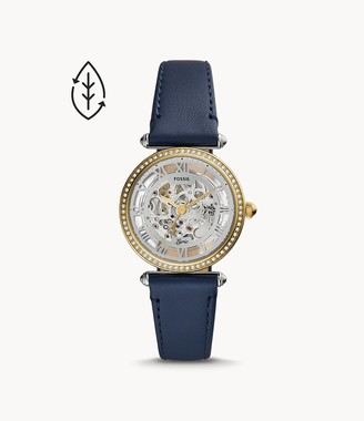 Fossil Lyric Automatic Navy Leather Watch
