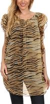 Brown Sheer Tiger Flutter-Sleeve Tunic