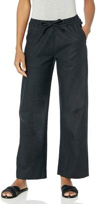28 Palms Amazon Brand Women's Stretch Linen Pant with Drawstring