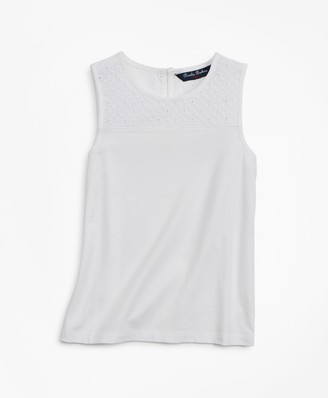 Brooks Brothers Girls Cotton Eyelet Tank Top