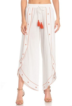 Miss Me Tulip Culottes with Embroidery (Off-White) Women's Clothing