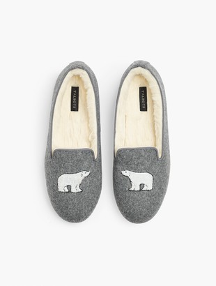 Talbots Fireside Embroidered Polar Bear Slippers - Flannel