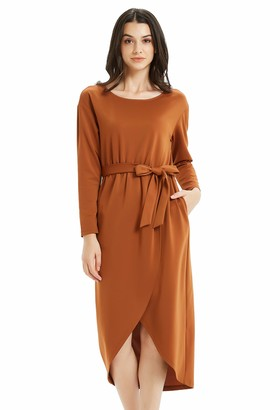 Basic Model High Low Dresses for Women Long Sleeve Belted Maxi Dress with Pockets