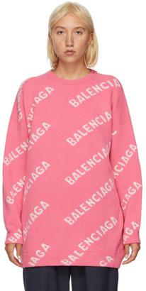 Balenciaga Pink and White Allover Logo Sweater