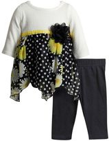 Youngland Baby Girl Knit & Chiffon Dress & Leggings Set