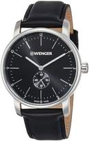 Wenger 01.1741.102 Men's Urban Classic Black Dial Black Leather Strap Swiss Watch