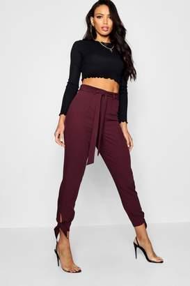 boohoo Utility Tie Ankle Woven Slim Fit Pants