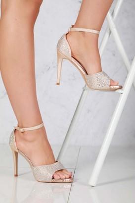 Miss Diva Garbo Anklestrap Diamante Stiletto Heel in Champagne