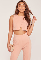 Missguided Petite Exclusive Nude Wrap Front Crop Top