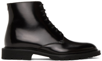 Saint Laurent Black Cesna 20 Lace-Up Boots