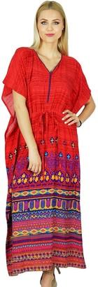 Bimba Women Long Rayon Kaftan Maxi Coverup Red Caftan Kimono Sleeve