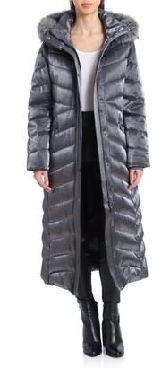 Badgley Mischka Faux Fur-Trimmed Iridescent Maxi Puffer