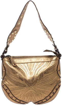 Gucci Gold Embossed Leather Small Studded Pelham Hobo