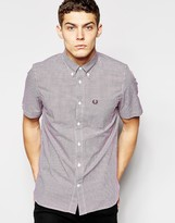 Fred Perry Shirt in Slim Fit Gingham Check Short Sleeves