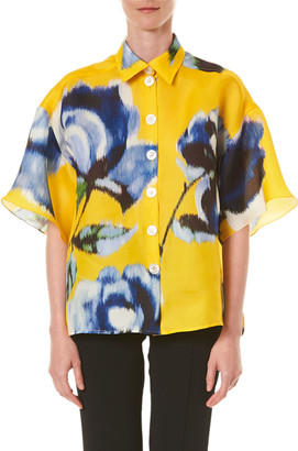 Carolina Herrera Silk Button-Front Shirt
