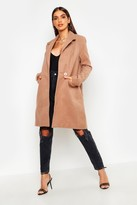 boohoo Sarah Zip Pocket Tailored Coat camel