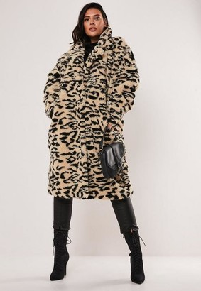 Missguided Size Brown Leopard Print Oversized Teddy Coat