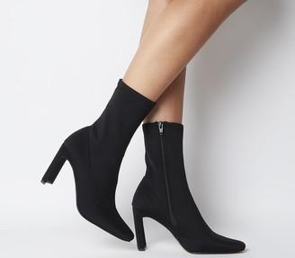 Office Amore Block Heel Sock Boots Black Stretch