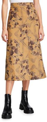 Ganni A-Line Brocade Jacquard Midi Skirt