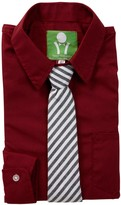 Future Trillionaire Solid Long Sleeve Shirt & Striped Tie (Toddler, Little Boys, & Big Boys)