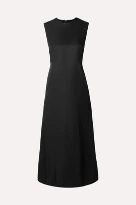 Helmut Lang Open-back Satin-crepe Midi Dress - Black
