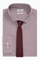 Next Mens Burgundy Print Slim Fit Shirt And Tie Set