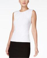 Calvin Klein Petite Top, Sleeveless Pleated Suit Shell