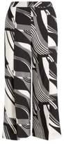 Ralph Lauren Print Crepe Wide-Leg Pant Black/Cream 10