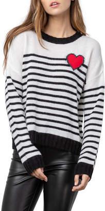 Rails Perci Striped Wool-Blend Sweater w/ Heart Detail