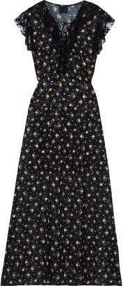 Anna Sui Lace-trimmed Floral-print Fil Coupe Maxi Dress