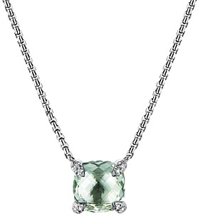 David Yurman Chatelaine Pendant Necklace with Prasiolite and Diamonds, 18