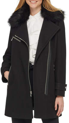 Karl Lagerfeld Paris Asymmetric Zip Faux Fur Trim Wool Jacket