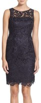 Adrianna Papell Women's Illusion Bodice Lace Sheath Dress