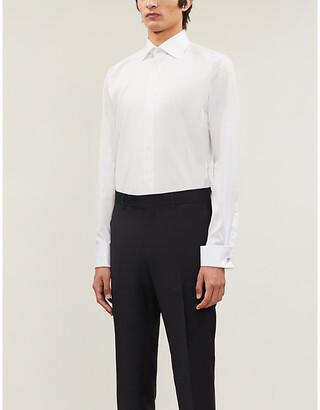 Eton Slim-fit French-cuff cotton-twill shirt, Mens, Size: 15, White