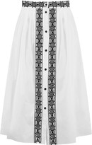 Temperley London Magda pleated embroidered midi skirt