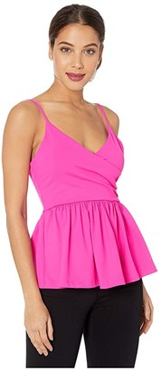 Susana Monaco Thin Strap Wrap Peplum Top (Pink Glo) Women's Clothing
